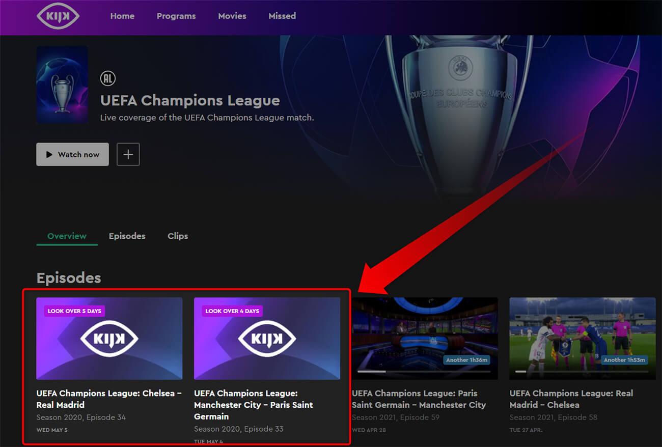 Programme TV Chaine Gratuite KIJK Ligue des Champions 4 5 Mai