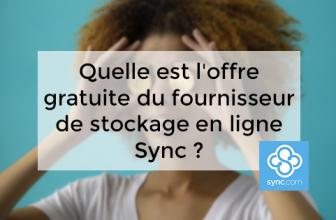 Quelle est l'offre gratuite du fournisseur de stockage en ligne Sync ?